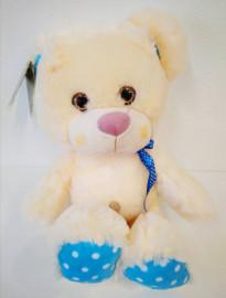 Медвежонок бежевый с синим (35см)